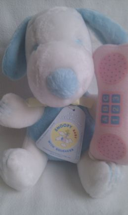Adorable Rare Vintage 1966 'Baby Snoopy First Telephone with Squeaker' Plush Toy